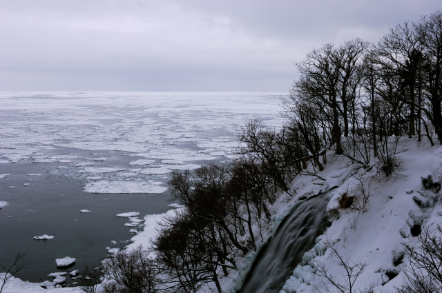 waterfall and drift ice